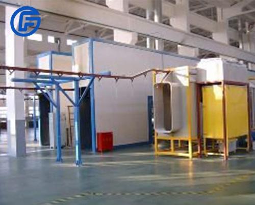 Electrostatic spray paint production line
